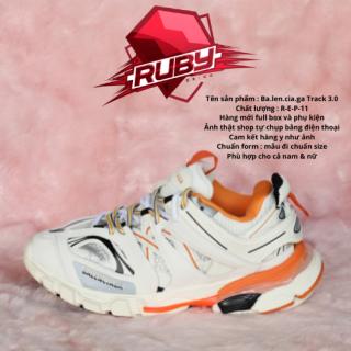 (Xả Kho 3 Ngày) GIẦY THỂ THAO SNEAKER NAM NỮ BA LEN TRACK màu trắng cam tại shop Ruby Sneaker thumbnail