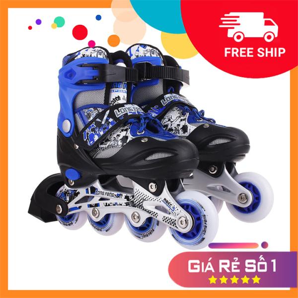 Giá bán Giày Patin inline Long Feng 906 - CHÍNH HÃNG - giày trượt patin người lớn , trẻ em đủ size S M L màu Xanh