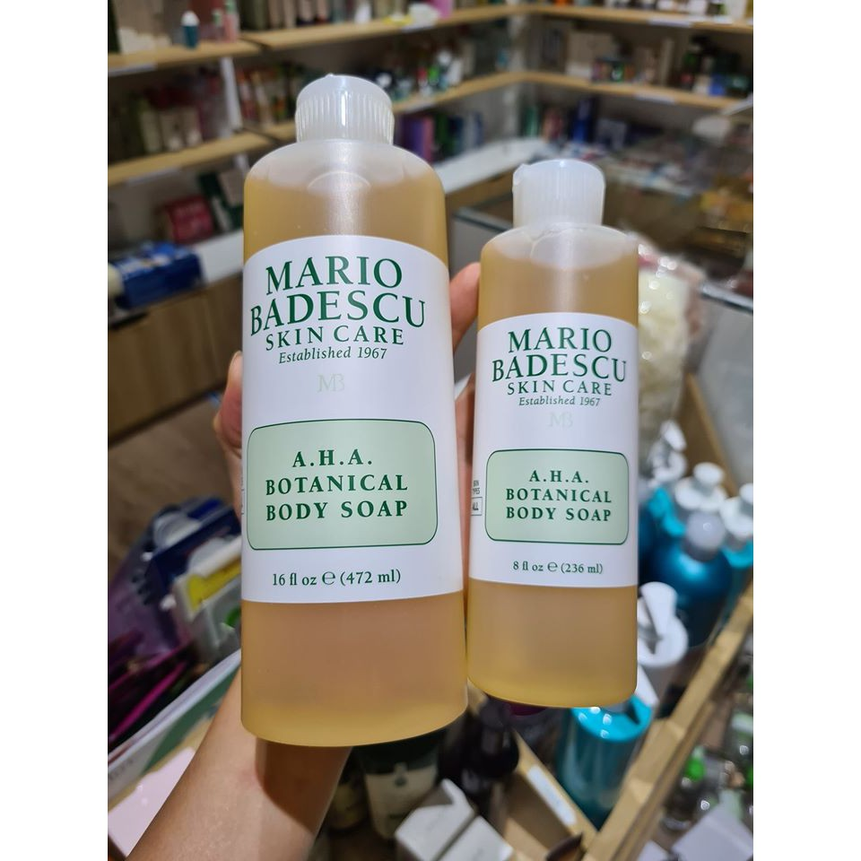 Sữa tắm trị mụn lưng Mario Badescu Skincare A.H.A Botanical Body Soap, chiết xuất từ các thành phần tự nhiên, không gây kích ứng cho da, an toàn cho người sử dụng