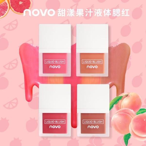 Phấn má dạng kem Novo Juice Liquid Blusher, Phấn má hồng Novo JPhấn má dạng lỏng NOVO nhũ lấp lánhuice Liquid dạng kem lỏng mềm mịn giá rẻ