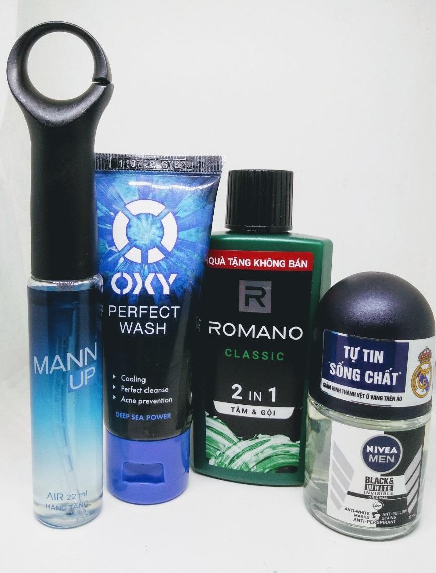 Trọn bộ dành cho nam giới 4 món gồm: 1 Chai dầu tắm gội hương nước hoa Romano 2in1 60g + 1 Chai nước hoa Xmen Mann up 22ml + 1 Chai lăn khử mùi Nivea for men 12ml + Tặng 1 Tuýp rửa mặt Oxy 25g nhập khẩu