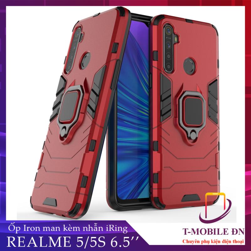 Giá Ốp lưng Realme 5/ Realme 5s chống sốc iron man kèm nhẫn ring chống xem video tiện lợi