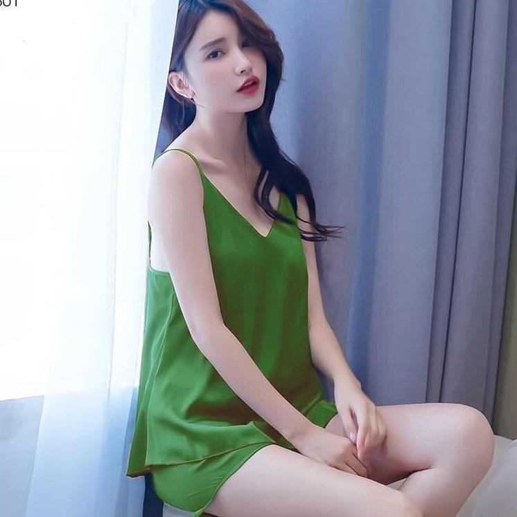 Đồ bộ ngủ THUN LẠNH mẫu mới cổ tim mềm 3 size 50-60kg tùy chiều cao, thiết kế trẻ trung, quần may thun co giãn, vải phi lụa mịn mát