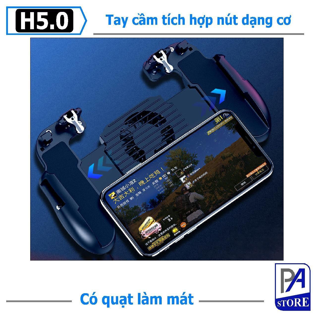 [Có Pin] Tay Cầm Chơi Game H5 Pro Tích Hợp Nút Nhấn, Dùng Cho PUBG, ROS, Freefire Có Quạt Tản Nhiệt