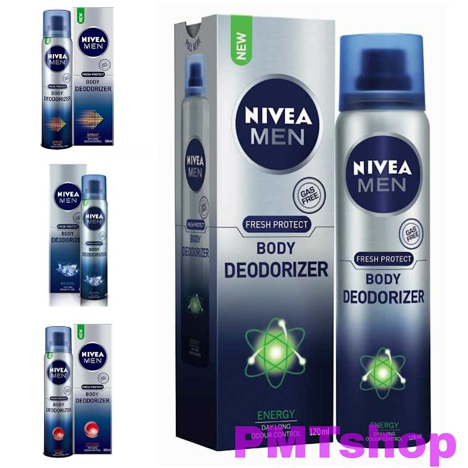 Xịt nước hoa toàn thân không gas Nivea men 120ml  Ice Cool, Energy, Sprint, Intense - Thanh mát, Sảng khoái, khử mùi