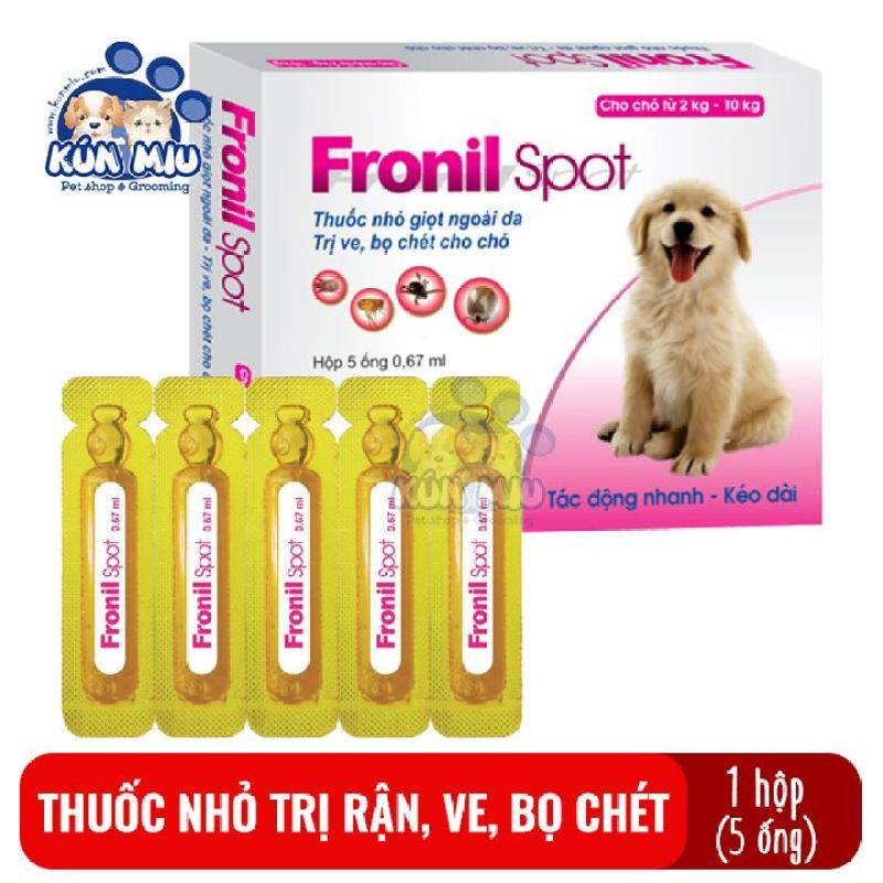 Hộp 5 ống Dung dịch nhỏ sống lưng phòng ngừa và diệt ve ghẻ, bọ chét chó Fronil spot