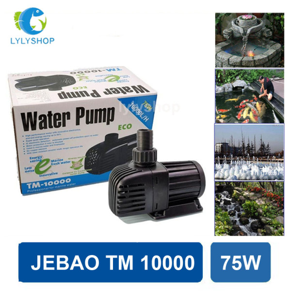 75W- 10000L/Hr - Máy bơm nước hồ cá Jebao TM 10000, phi ống 42, lõi trục gốm, ngắt tự động khi bơm hết nước, tiết kiệm điện, dễ lắp đặt. Bảo hành 6 tháng