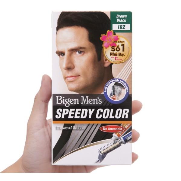 Nhuộm Tóc phủ bạc MÀU NÂU ĐEN dạng kem Cho Nam Giới Bigen Men's Speedy Color (SỐ 102)