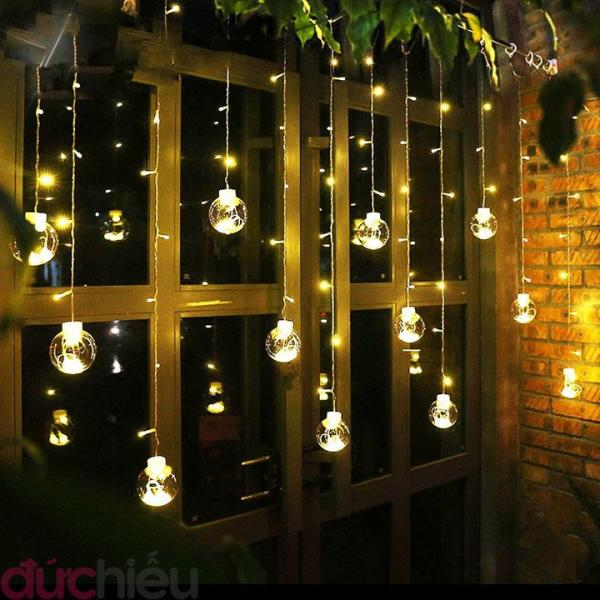 [ Bóng to - chất lượng ] Dây đèn LED chớp tắt đủ màu 12 quả banh 138 LED, đèn led rèm, đèn led màn, đèn led trang trí quán cafe, dây đèn trái châu, dây đèn thả trái banh - Đức Hiếu Shop