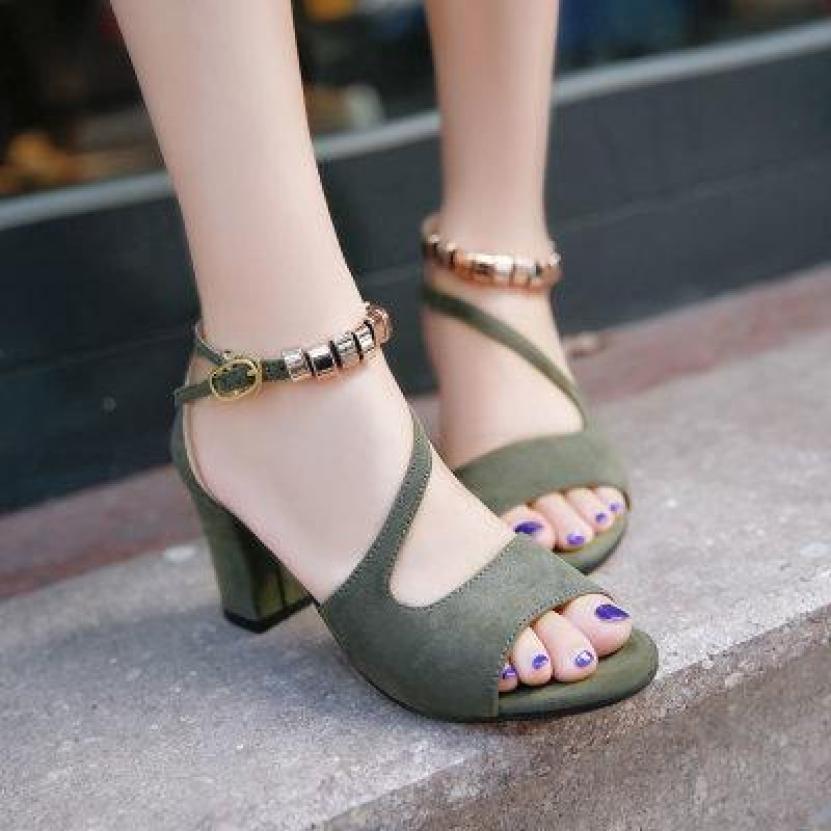 Giày cao gót vuông 7p quai chéo vòng cổ hột vuông thiết kế điệu đà, duyên dáng, trẻ trung, thời trang giá rẻ