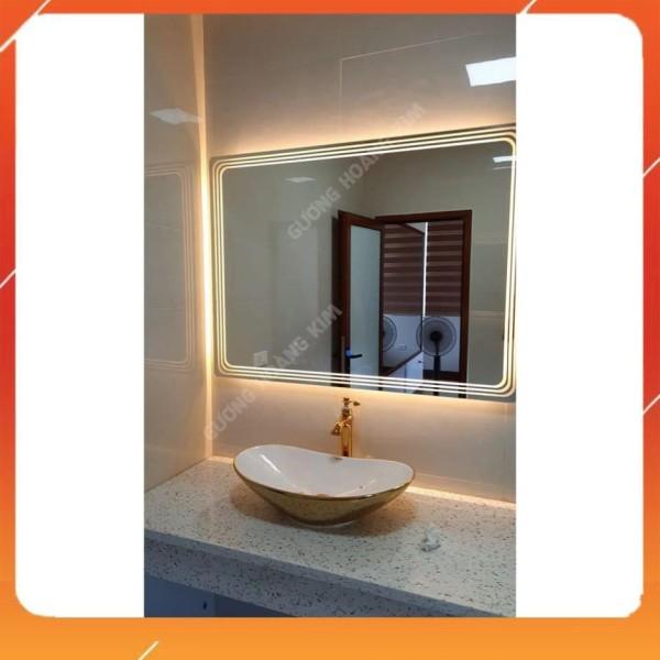 Gương phòng tắm đèn led ,Gương cảm ứng thông minh tính năng 3 chạm kèm phá sương đồng hồ nhiệt độ kích thước 40x60 cm guonghoangkim - mirror