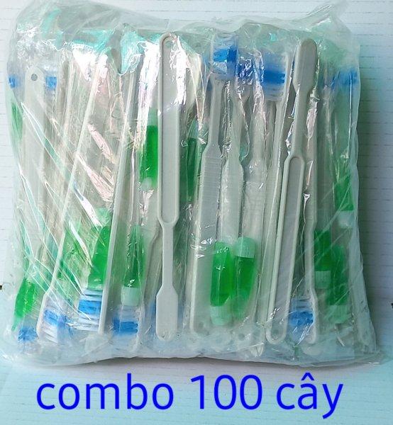 [loại1] 100 cây Bàn chải đánh răng lông tơ không tưa đầu dùng 1 lần cho khách sạn nhà nghĩ du lịch tặng kèm kem đánh răng giá rẻ