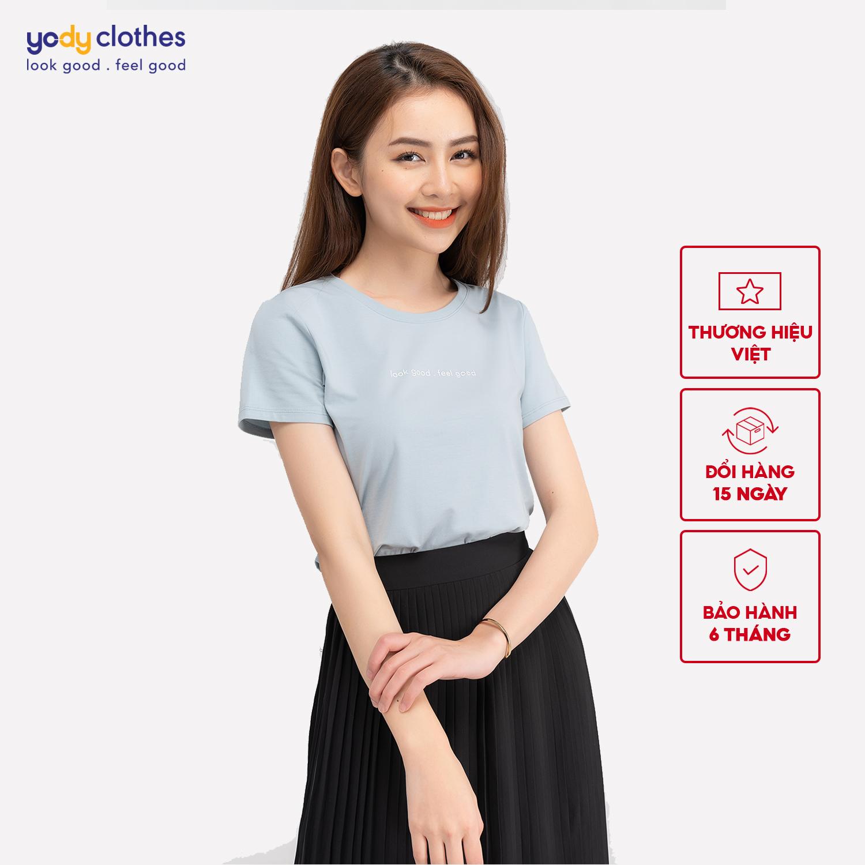 Áo phông nữ YODY cổ tròn form rộng chất vải cotton thoáng mát, áo thun trơn ngắn tay nhiều màu có cả áo đôi PPN4134