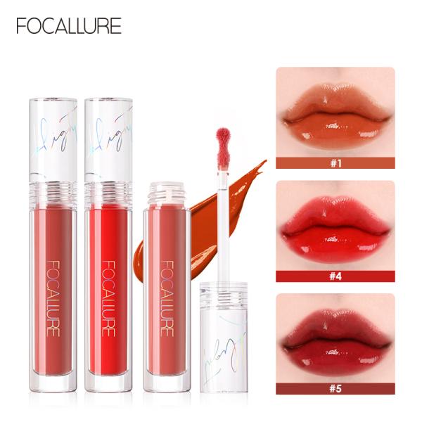 FOCALLURE Lip Gloss Son môi lỏng Sáng bóng Trọng lượng nhẹ Đôi môi bóng mà không dính Màng nước sáng bóng