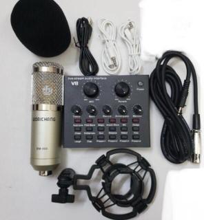 combo míc hát livestream thu âm karaoke online micro BM800 card v8 thumbnail