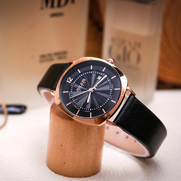 Đồng hồ nữ Julius Hàn Quốc JA-1190LD dây da có lịch