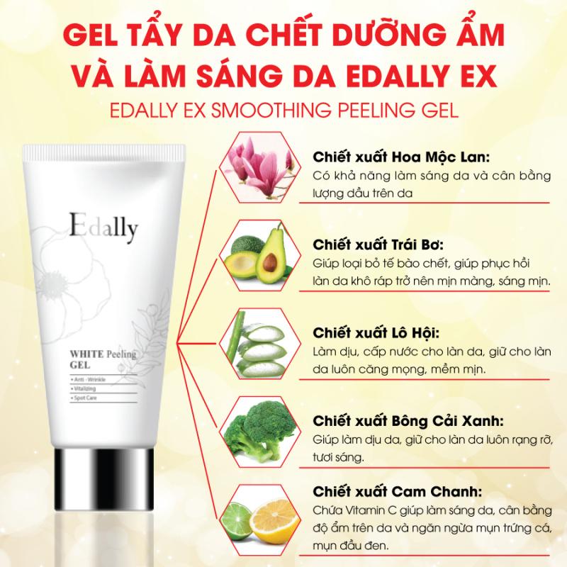 Gel tẩy da chết trắng da, sạch mụn cám, mụn cám dưỡng ẩm và làm sáng da Edally - Smoothing Peeling Gel