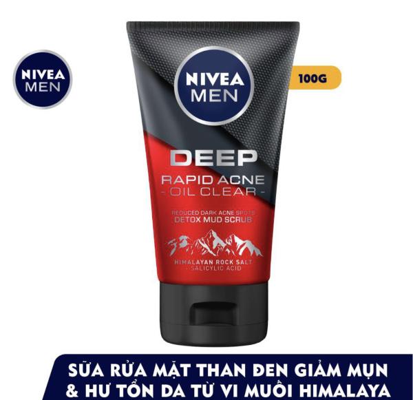 Sữa rửa mặt Nivea men Deep Rapid Acne oil Clear (100g)