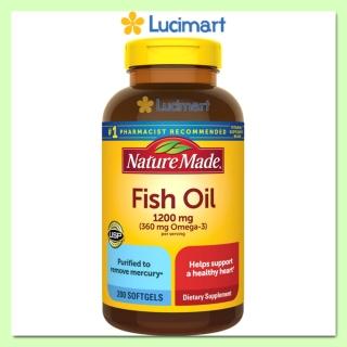 Dầu cá từ thiên nhiên Nature Made Fish Oil 1200 mg, Omega-3, hộp 200 viên (hạn dùng 2024) [Hàng Mỹ] thumbnail