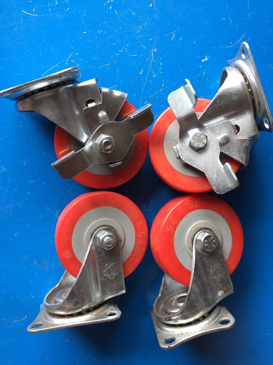 Bánh xe, bánh xe đẩy hàng đường kinh 8cm, bộ 4 bánh xe 75x25 đỏ ( 2 khóa 2 xoay), bộ bánh xe chịu tải 200kg