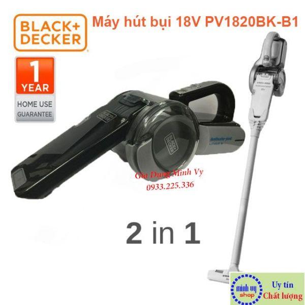 Combo Máy hút bụi cầm tay dùng pin 18V Black Decker PV1820BK-B1 và ống nối PVA03-B1