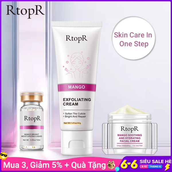 Bộ sản phẩm chăm sóc da mặt RtopR chiết xuất xoài gồm kem tẩy tế bào chết + kem dưỡng ẩm + tinh chất dưỡng ẩm làm sáng da - INTL giá rẻ