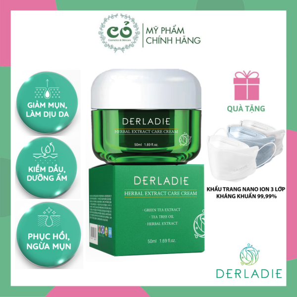 Kem Dưỡng Tràm Trà Giảm Mụn, Kiềm Dầu DERLADIE Herbal Extract Care Cream 50ml