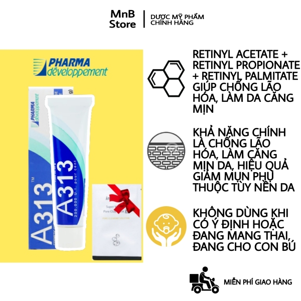 [ Chính hãng NỘI ĐỊA PHÁP] Kem ngăn ngừa mụn, chống lão hóa mạnh A313 Pommade Retinol Cream dược mỹ phẩm PHÁP, làm giảm mụn, mờ thâm, ngăn nếp nhăn, giúp da căng bóng, cho da dầu mụn, nhạy cảm 50gram - MnB Cosmetic - La Roche Posay