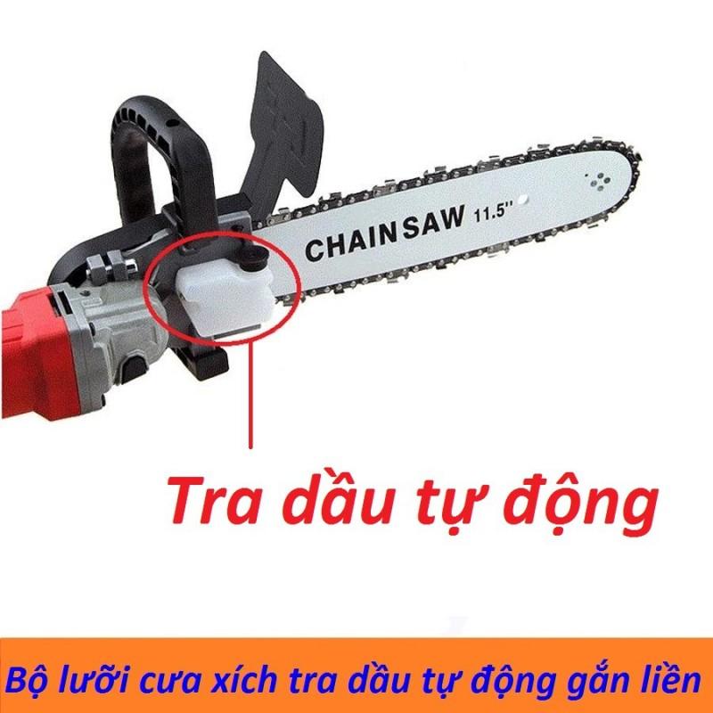 Bộ lưỡi cưa xích gắn máy mài Chain saw - Lưỡi lam xích - Lưỡi cưa xích Loại Xịn có bình tra dầu tự động gắn liền (29 Cm)