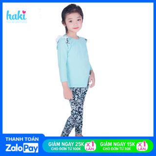 Bộ mặc nhà bé gái chất liệu Cotton cao cấp, set đồ ngủ dài tay cho bé tới 8 tuổi, họa tiết xanh hoa dễ thương TH131 (10-27kg), bộ quần áo bé gái, đồ bộ cho bé