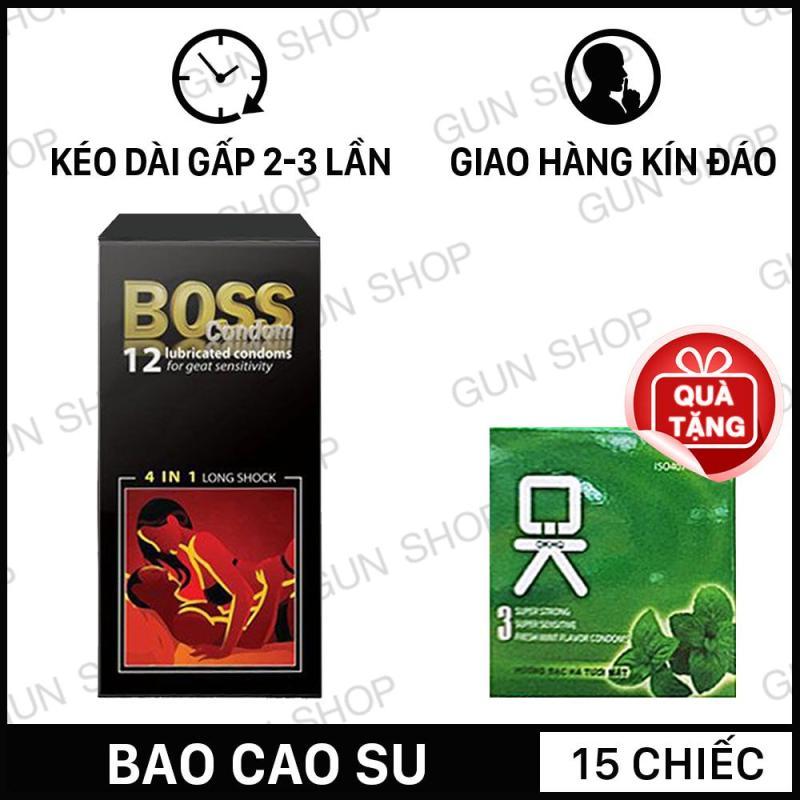 [15 chiếc] Bao Cao Su Malaysia Boss 4 in 1 Kéo Dài Thời Gian Quan Hệ (12 chiếc) + Tặng bao cao su Ok hương bạc hà 3 chiếc - Toroshop cao cấp