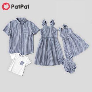 PatPat Bộ Đồ Gia Đình Sọc 100% Cotton (Váy Ba Lỗ Tay Bồng-Quần Yếm Áo Sơ Mi Sọc Ngắn Tay) Trang Phục Phù Hợp Với Gia Đình-Z