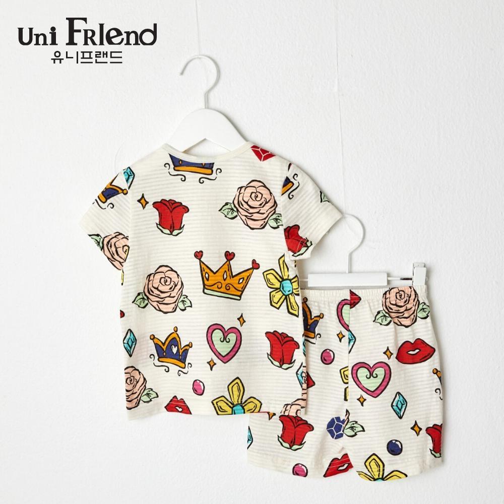 Giá bán Đồ bộ mặc nhà bé gái Unifriend thun ngắn hoạ tiết hoàng gia U9SSTS22