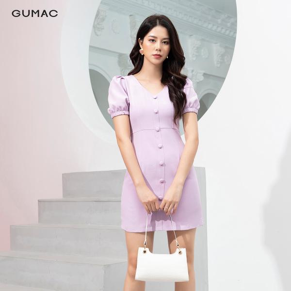 Đầm nữ GUMAC thiết kế cổ tim tay chunDA9244