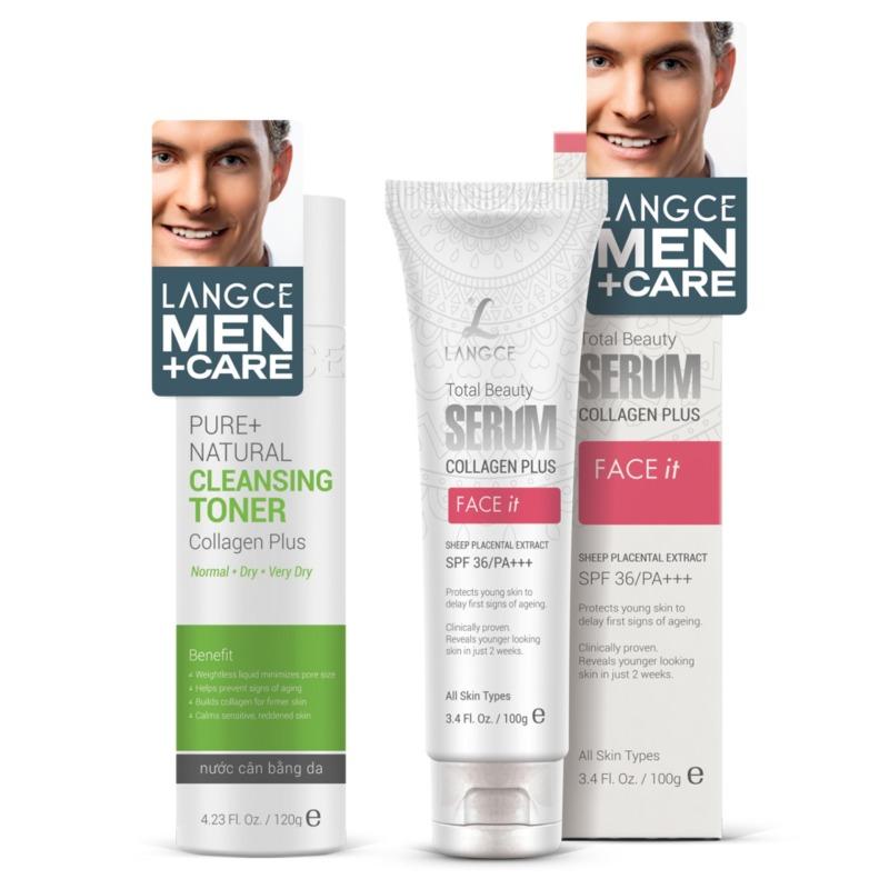 Bộ Serum Collagen+ Face It Dưỡng Trắng 100ml và Toner - Nước Cân Bằng Da 120ml Da Khô LANGCE cho Nam giá rẻ