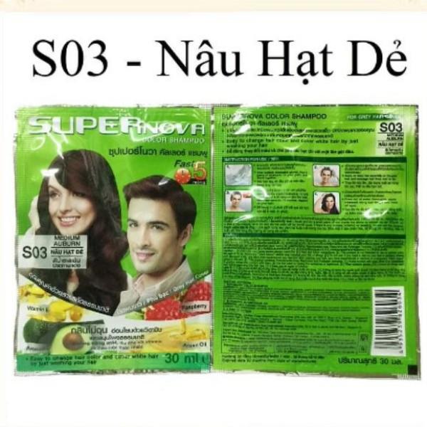 [Nâu hạt Dẻ] Combo 06 Dầu gội Nhuộm tóc Thảo Dược Super Nova Color Shamppo MEDIUM AUBURN #03 Nâu Hạt Dẻ giá rẻ