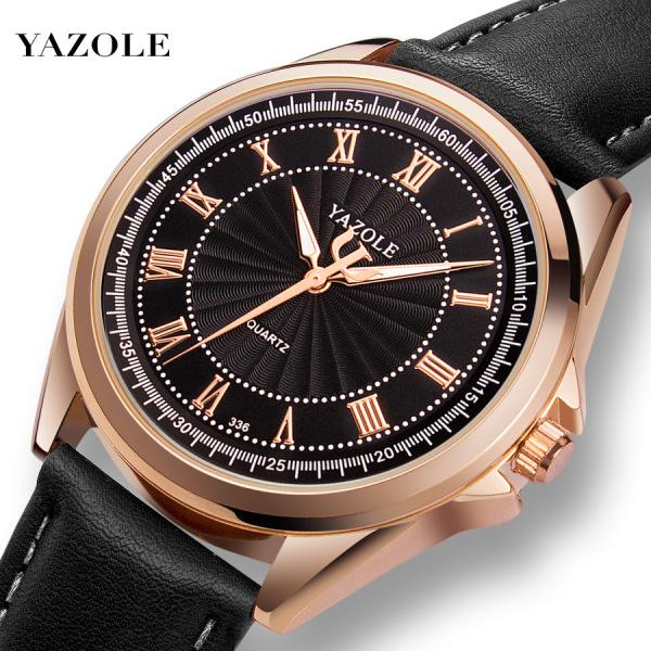 [HCM]Đồng hồ nam Yazole 336 dây da thời trang cực chất (Vỏ vàng)
