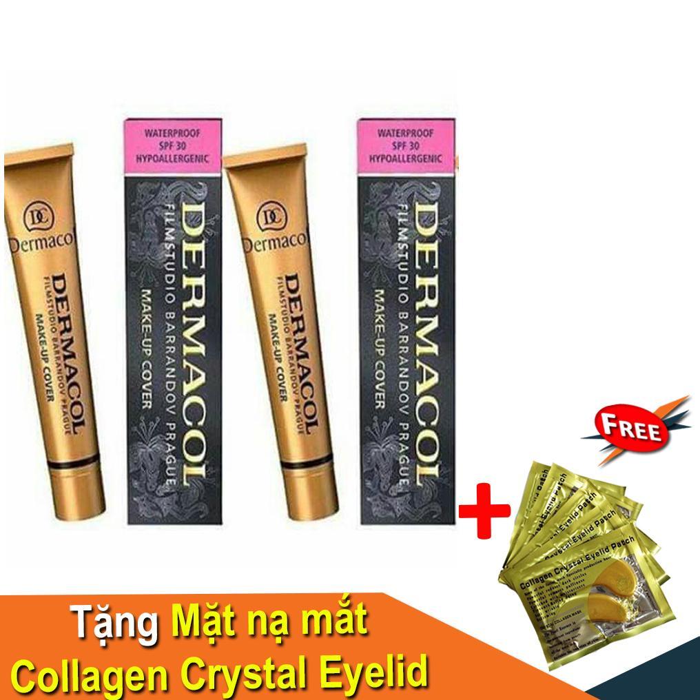 Kem nền che khuyết điểm hoàn hảo Dermacol Make up Cover SPF30 - 210 (Tặng Mặt Nạ Mắt Collagen Crystal) chính hãng