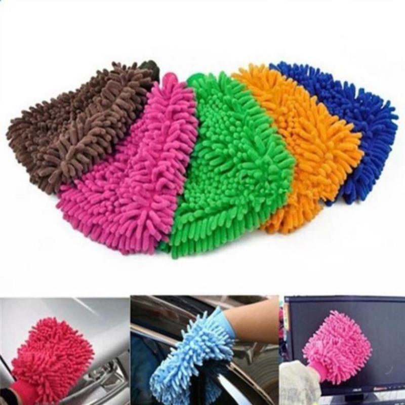 Găng tay rửa xe lau chùi ô tô loại dày dặn 2 mặt bông - găng tay san hô ( lẻ 1 chiếc )
