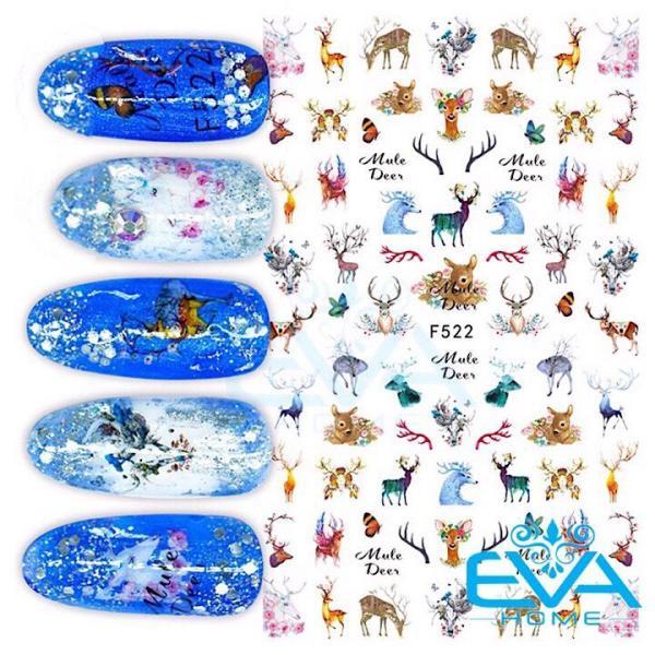 Miếng Dán Móng Tay 3D Nail Sticker Hoạt Hình Hươu La Mule Deer F522 giá rẻ