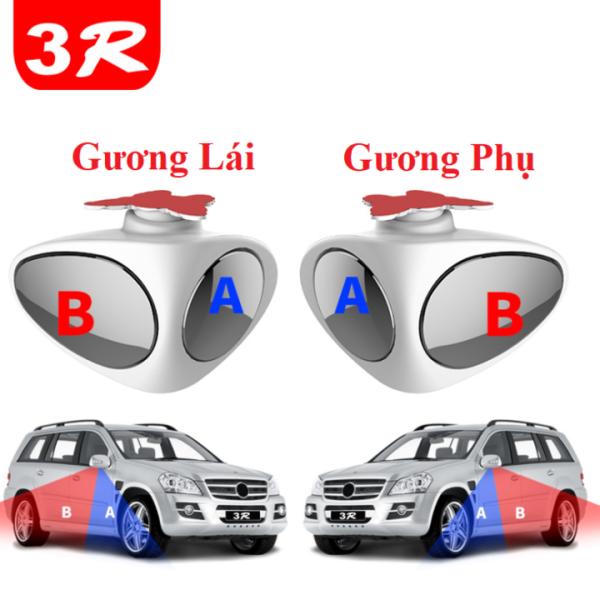Gương xóa điểm mù ô tô, xe hơi cao cấp dạng cầu 2 góc gắn gương phụ và bên lái trên xe ô tô 3R ( Màu trắng )