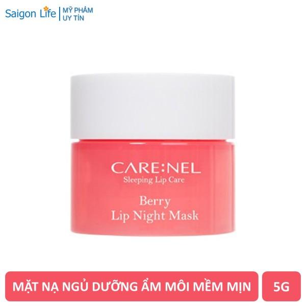 Mặt Nạ Ngủ Môi Dưỡng Ẩm, Căng Bóng Mềm Mịn Hương Dâu Care:nel Carenel Berry Lip Night Mask 5g - Hồng