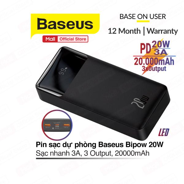 Pin Dự Phòng PD 20W Baseus Bipow Digital Display sạc nhanh 3A, dung lượng 20000mAh, có đèn LED hiện thị pin, 3 cổng Output