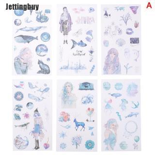 6 Tờ nhãn dán hoạ tiết dễ thương Kawaii dùng trang trí nhật ký - INTL thumbnail
