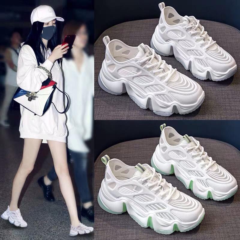 Giày thể thao nữ Bokena có 2 màu trắng xanh & trắng xám, chất liệu cao cấp thoáng chân, đế độn tăng chiều cao, phong cách ulzzang hàn quốc cá tính, sử dụng đi học, đi làm, đi chơi, mẫu giày nữ sneaker đẹp, giá rẻ, hot 2020