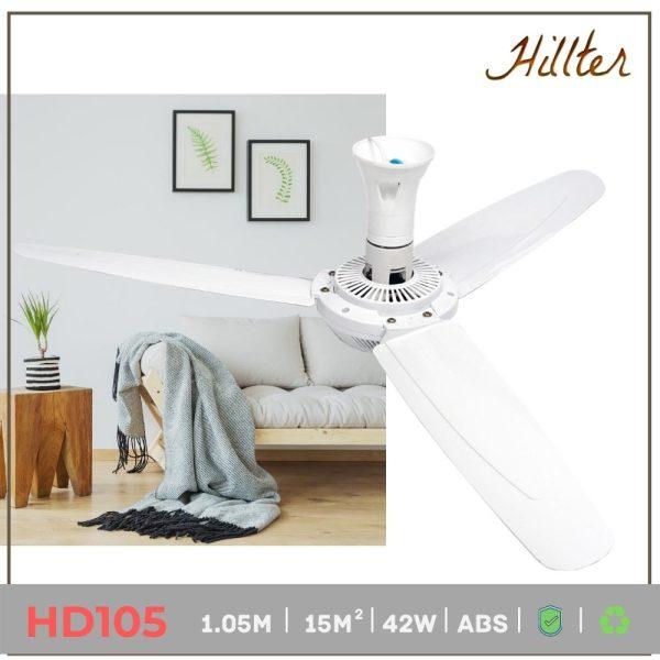 Quạt trần mini phòng ngủ loại đại 1.05m - Siêu mát, êm ái- Hãng Hillter-220V, 50W- HD105