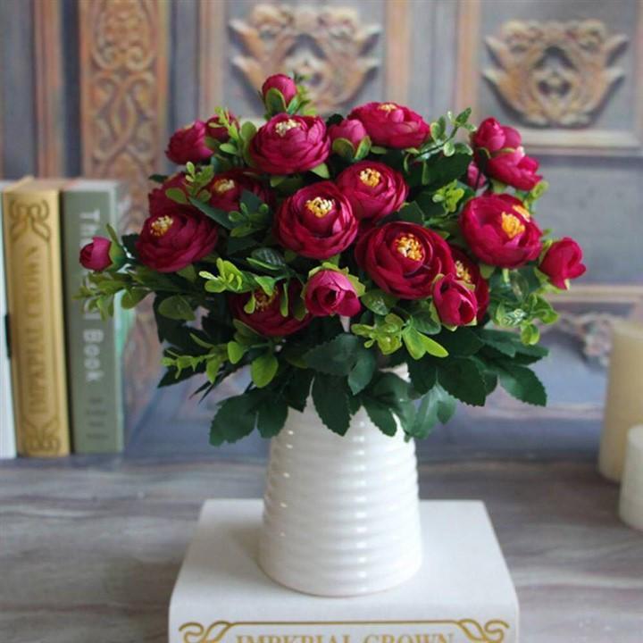 1 cành hoa hồng hungary cao cấp 6 bông 2 nụ  - Hoa lụa - hoa giả trang trí phòng khách, văn phòng công ty, làm bó hoa cưới