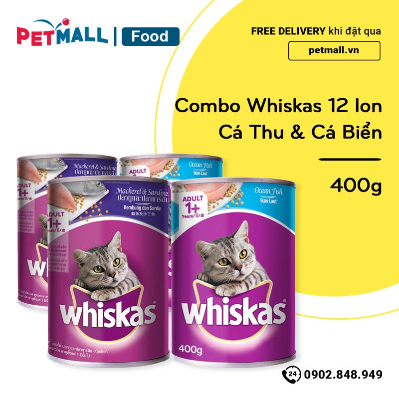 Combo Pate mèo Whiskas 12 lon - Cá Biển & Cá Thu 400g