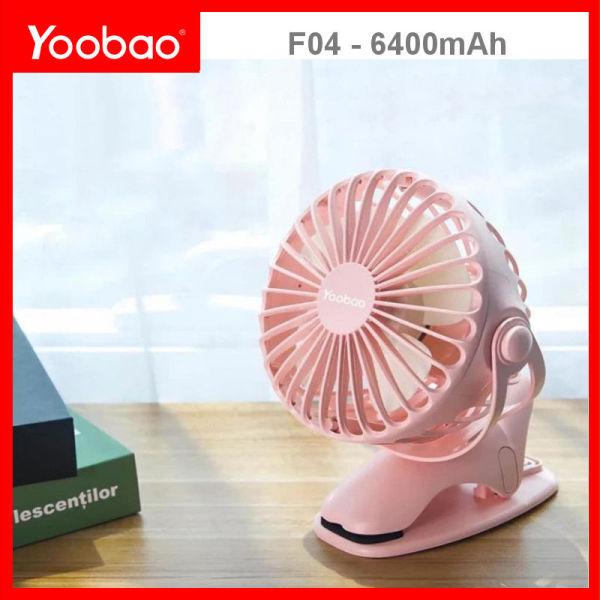 Quạt mini sạc điện xoay góc 720 độ, đế kẹp đa năng hoặc đặt bàn, an toàn cho trẻ với 4 nấc điều chỉnh gió (6400mAh) YOOBAO F04