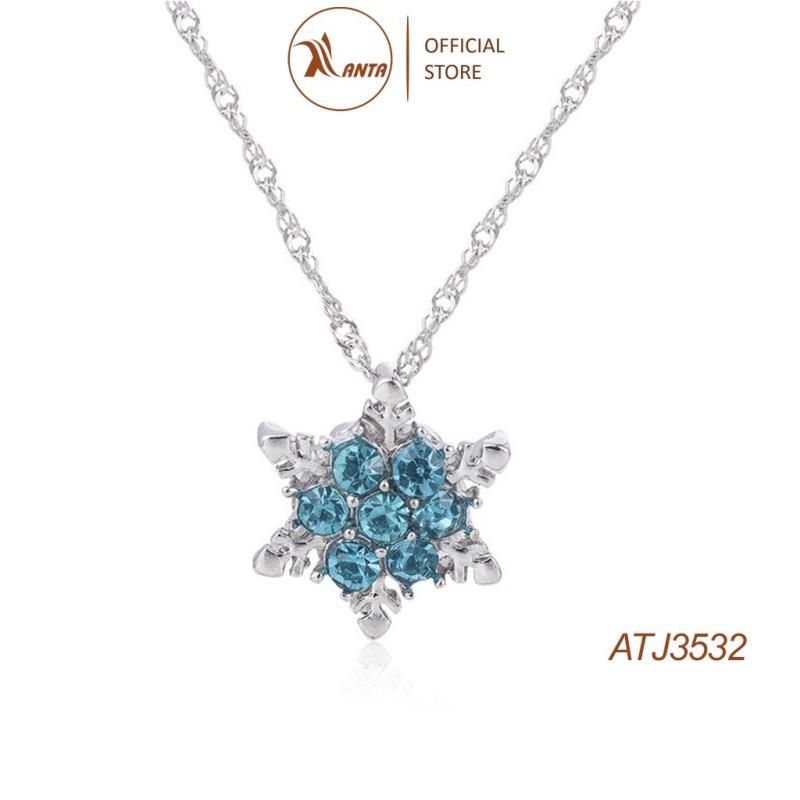 Dây Chuyền Mặt Hoa Tuyết Đính Đá Pha Lê màu xanh dành cho nữ ANTA Jewelry - ATJ3532